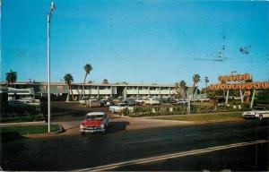 Phoenix AZ 1956 Plymouth Leaving Hotel Desert Sun~Grand Ave~Palm Trees~Postcard