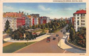 Commonwealth Avenue, Boston, Massachusetts, Early Linen Postcard, Unused