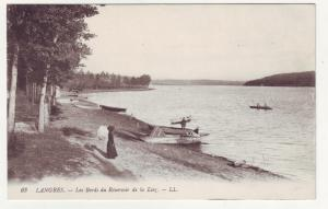 P1140 old postcard Les bords du réservoir de la Liez france boats, fishing