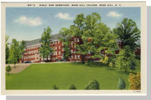 Mars Hills, NC Postcard,College/Girl's Dormitory, Near Mint!