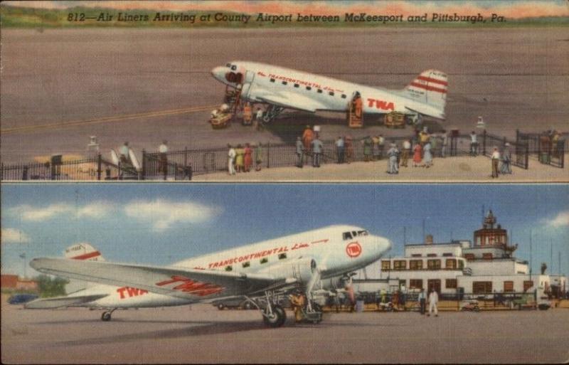 McKeesport PA Airport TWA Airplanes Linen  1943 Christmas Seal Tied Postcard