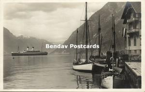 norway norge, HARDANGER Fjord, Steamer Monte Olivia, Grand Hotel (1920s) RPPC
