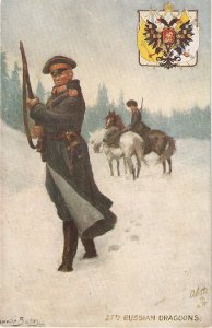 Granville Baker.Soldiers of the Worl. Russians Drgons. Horses Tuck Oilette PC