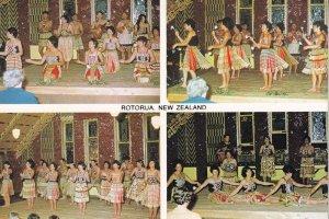 Rotorua New Zealand Cultural Poi Canoe Dance Group 1960s Postcard
