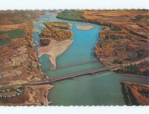 Unused Pre-1980 AERIAL VIEW Taylor Flats & Dawson Creek & Fort St. John BC d3386