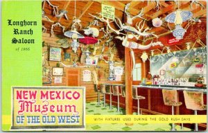 Vintage 1955 New Mexico ROUTE 66 Postcard LONGHORN RANCH Saloon View w/ Cancel