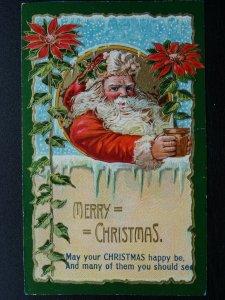 MERRY CHRISTMAS May Your Christmas Happy Be.. PONSETYA c1906 Embossed Postcard