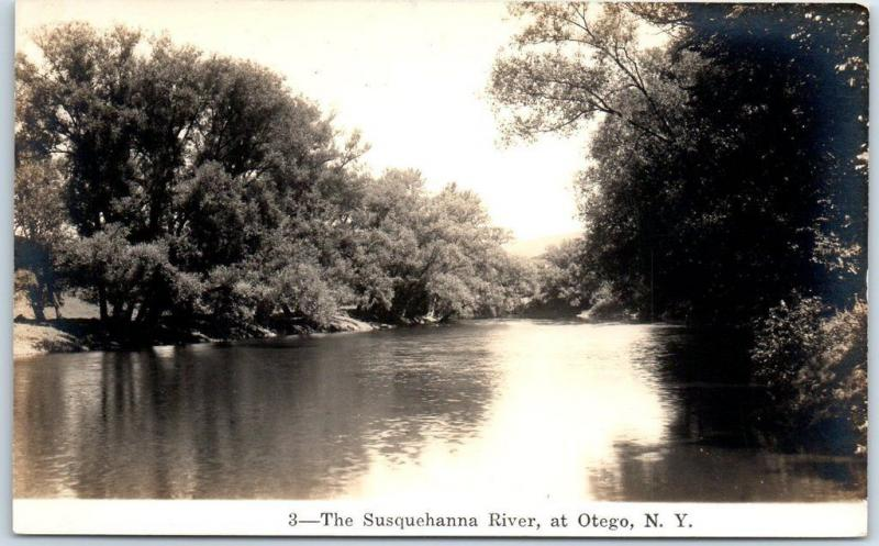 Otego, New York RPPC Real Photo Postcard The Susquehanna River c1930s Unused