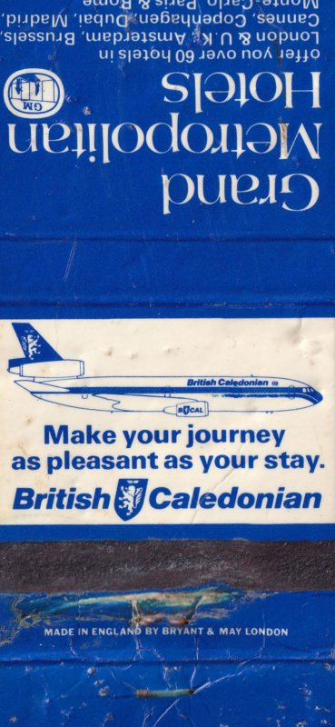 British Caledonian Airport Plane Grand Metropolitan Hotel Matchbox Label