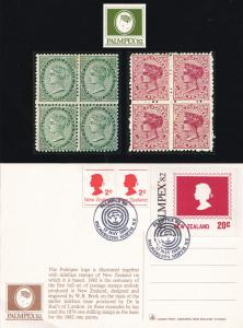 Palmpex 82 WR Bock Stamp Block 2x Postcard New Zealand FDC