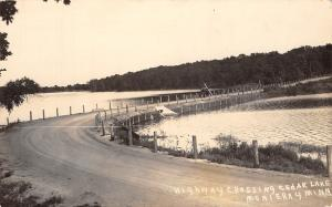 Monterey Minnesota~Now Trimont~Vintage Car on Highway~Cedar Lake~1920s RPPC
