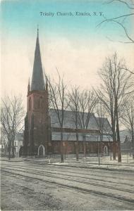 Elmira New York~Trinity Church~Houses Down Street~Trolley Tracks~1910 Postcard