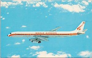World Airways DC-8 Airplane Aviation Unused Postcard F18