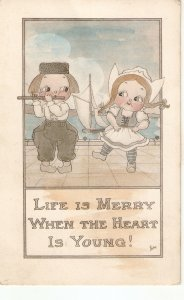 Comic children couple. Life is merry when.. Humorous vintage American postcard