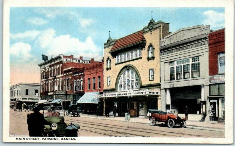 Parsons, Kansas Postcard MAIN STREET Downtown Scene / Theatre Front View 1910s