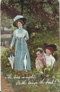 Romantic Sassy Old Postcard The bird in sight; or the two in the bush? Cheeky