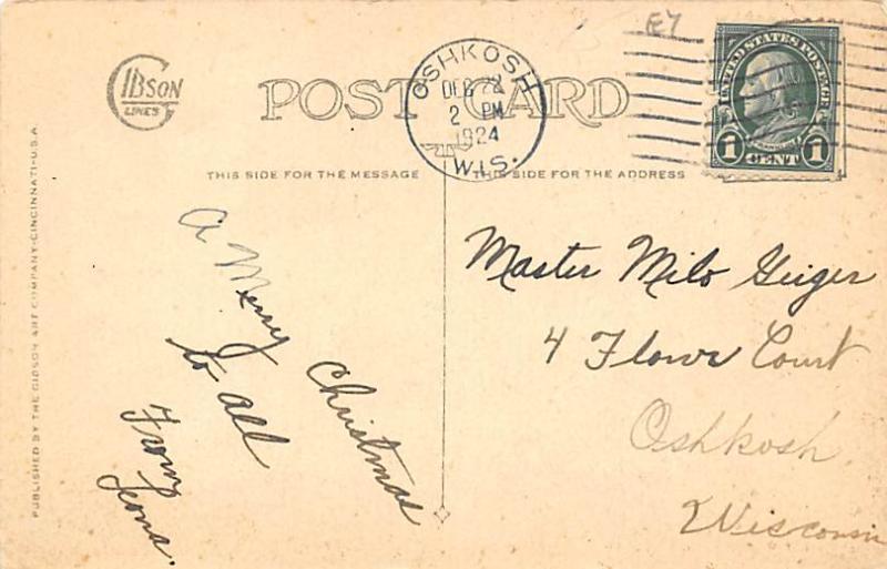 Santa Claus Post Card Old Antique Vintage Christmas Postcard 1924