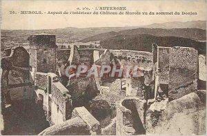 Old Postcard Auvergne Murols Interior's Aspect of Chateau Murols seen Summit ...