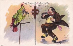 Humour Man Talking To Parrot On Telephone Say Hello Say Uncle