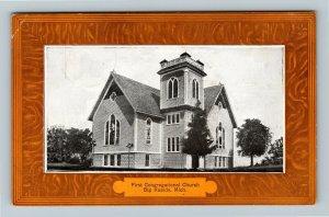 Big Rapids MI, First Congregational Church, Vintage Michigan c1909 Postcard