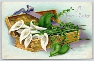 Ellen H Clapsaddle Easter~Calla Lilies in Floral Wicker Basket~Purple Ribbon