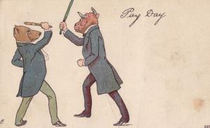 Pay Day 2x Dog Dressed in Suits Umbrellas Fighting Old Politics Comic Postcard