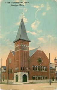 Lansing Michigan~Steeple with Long Lines~First Universalist Church~1910 Postcard