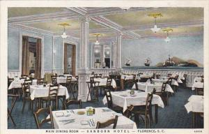 South Carolina Florence Main Dining Room Sanborn Hotel Curteich