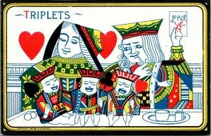 S.M. Salke Triplets Comic Playing Card Style Postcard VINTAGE