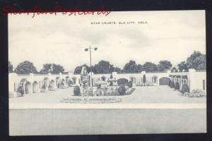 ELK CITY OKLAHOMA STAR COURTS B&W ROUTE 66 LINEN ADVERTISING POSTCARD