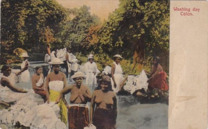 Panama Colon Washing Day Native Women Nude Topless