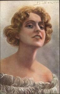 F. Spotti Glamour Art Deco ACTRESS THEATRE Postcard jrf PINA MENICHELLI