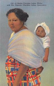 NC, North Carolina  CHEROKEE INDIAN Woman & Papoose Baby  c1940's Linen Postcard
