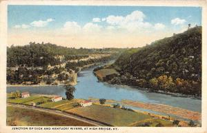 High Bridge Kentucky Junction Of Dick River Birdseye Antique Postcard K13737