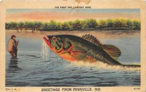 Pennville Indiana~First One I Caught~Man Fishing~Exaggerated Fish~1940s Pc