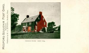 MA - Medford. Old Craddock House, First Brick House Built in the United State...