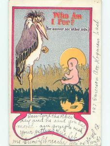 Pre-Linen Comic BABY BESIDE STORK IN THE SWAMP AB8604
