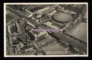 ex025 - Aerial View, South Bank, Festival of Britain 1951- postcard