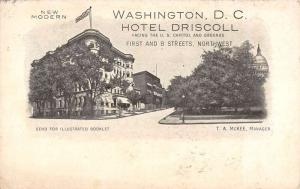 Washington DC Hotel Driscoll Street View Antique Postcard K71814