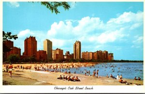 Illinois Chicago Oak Street Beach With North Shore Skyline