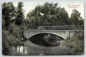 Albion Michigan~Dutch Town Arch Bridge Over the Kalamazoo River~c1910 Postcard