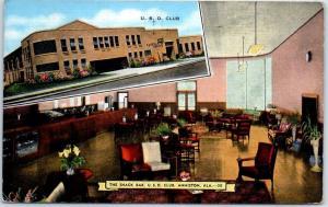 Anniston, Alabama Postcard U.S.O. CLUB Street & Snack Bar Views Kropp Linen 1944