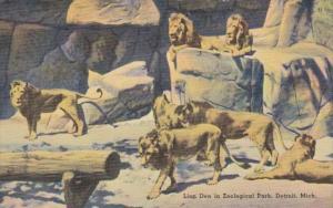 Michigan Detroit The Lion Den In Zoological Park 1940