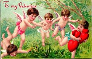 Vtg Carte Postale 1909 en Relief Valentin - Course Chérubin Avec Cœurs