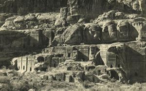 jordan, PETRA, Tiers of Rock Cut Tombs (1930s)