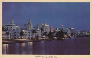 Night View of Hotel Row and Indian Creek, Miami Beach, Florida, PU-1963