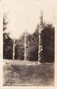Alaska Indian Totem Poles Real Photo sk602