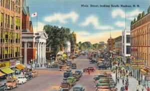 Linen c1930-45 USA Postcard, Main Street, Nashua New Hampshire, Classic Cars 56Y