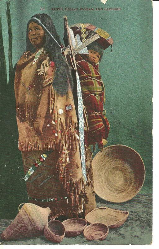 1911 Piute Indian Woman And Papoose