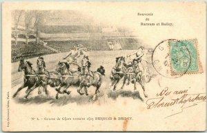 1900s Postally-Used BARNUM & BAILEY CIRCUS Postcard CHARIOT RACE SCENE w/ Cancel